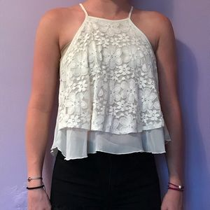 Hollister Tops - White crop top tank